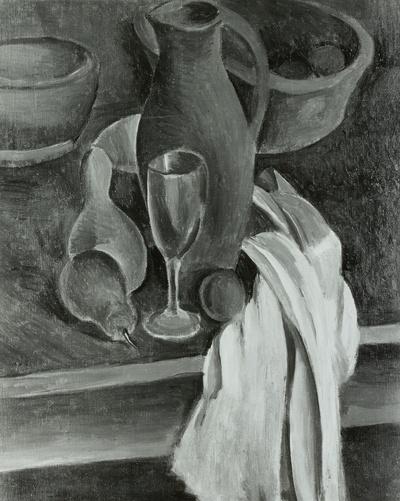 Image from object titled Stilleben (Tonkrug, weiße Serviette und Früchte)