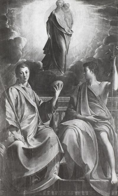 Maria mit dem Kind in der Glorie über dem heiligen Stephanus mit den Stifter und Johannes dem Täufer