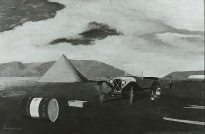 Landschaft mit Automobil