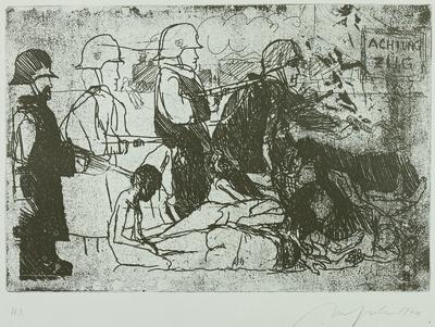 """Ein Totentanz, Bl. 20: General Jodl: """"...ob ein Einheimischer mehr oder weniger überfahren wird, kann uns doch gleich sein"""""""