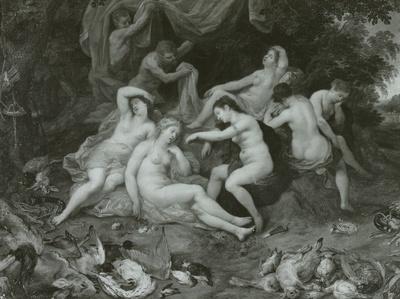 Diana und ihre Nymphen, von Satyrn belauscht