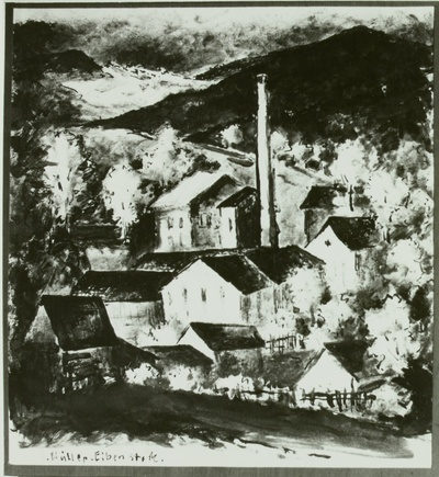 Image from object titled Kleinstadt mit Fabrik