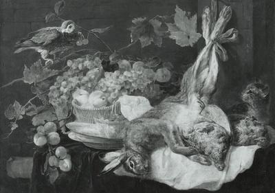 Hase, Früchte und Papagei