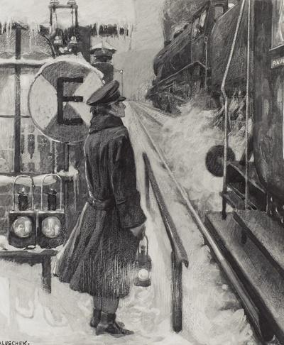 Zwei sich begegnende Züge und Bahnwärterin