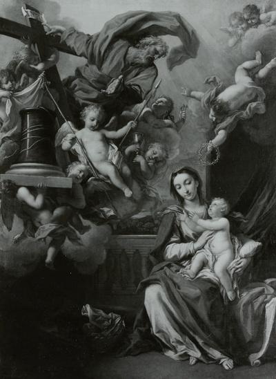 Maria mit dem Kinde und die Symbole der Passion