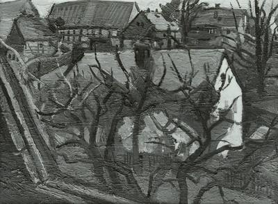 Häuser hinter Geäst in Börnchen