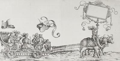 Liefrinck, Willem, nach Burgkmair, Hans d. Ä.: Triumphzug Kaiser Maximilians I. Büffelgespann als Pflug mit niederem Festwagen. Knäblein mit Reimtafel als Fuhrmann und Bläserwagen mit Posaunen-, Bomhart- und Krummhornmusik...