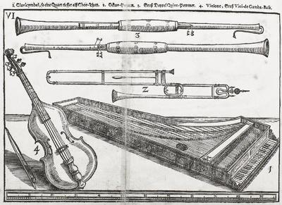 """""""Theatrum Instrumentorum"""" mit Instrumentendarstellung Cembalo, Posaune, Pommern und Viola da gamba. Tafel 6"""