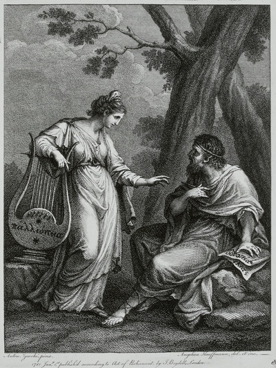 Kauffmann, Angelica nach Zucchi, Antonio: Homer und Sappho. Kupferstich; 23,3 x 17,8 cm. Dresden: Kupferstich-Kabinett A 16 341 a in A 211 b,1
