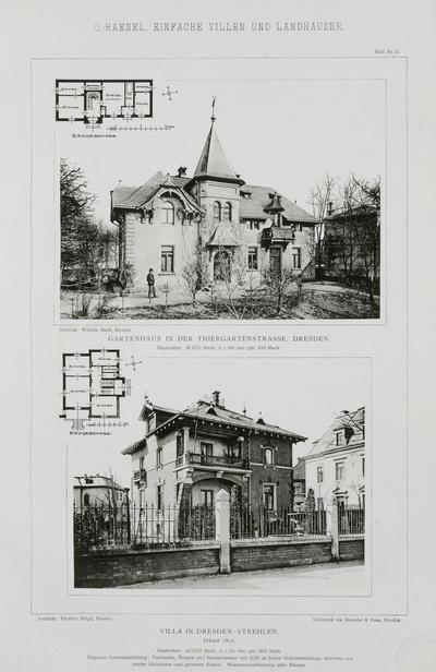 Gartenhaus in der Thiergartenstraße, Dresden (Foto, Grundriß) und Villa in Dresden-Strehlen (erbaut 1892; Foto, Grundriß), Tafel 21