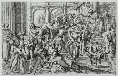 Der heilige Rochus, Almosen austeilend