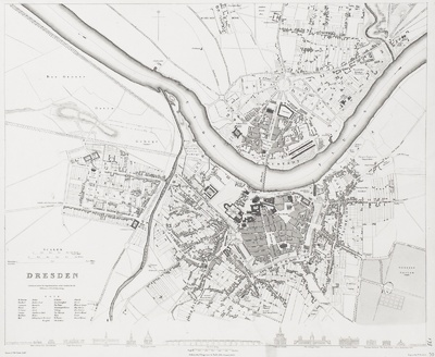 Dresden. Mit: A comparison of the (13) Principal Buildings in Dresden (1:11 500)