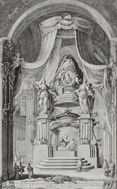 Bildnis Marie Amalie (von Sachsen-Polen), Königin von Spanien auf einem Schild über Katafalk in der Kirche von Santiago de Compostela