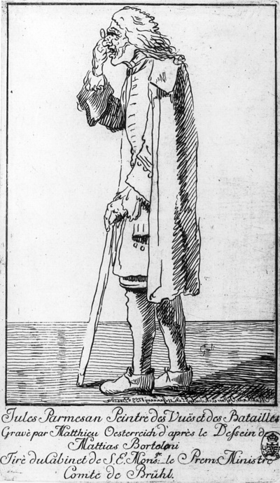 Karikatur eines Mannes, im Profil auf einen Stock gestützt
