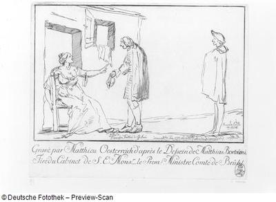 Karikatur von drei Personen in einem Raum