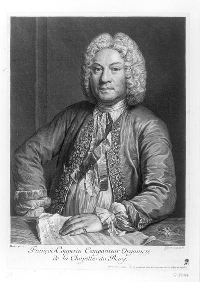 Porträt François Couperin. Kupferstich von Jean Charles Flipart nach André Bouys; bez. 1735. 30,8 x 21,9 cm (Blattgröße). Dresden: Kupferstich-Kabinett A 81197