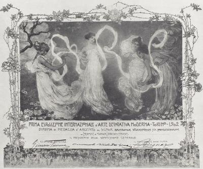 Diplom zur Silbermedaille, verliehen zur Internationalen Ausstellung in Turin 1902