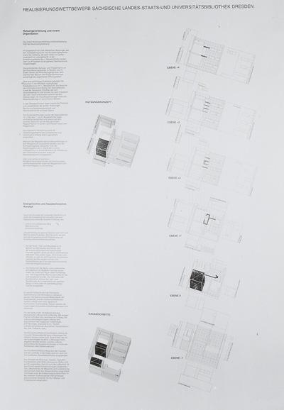Dresden. Realisierungswettbewerb Neubau SLUB (04.1996), Teilnehmer Nr. 33. Blatt Nutzungs-, Energetisches und Haustechnisches Konzept, Darstellung der Ebenen -1 bis +4