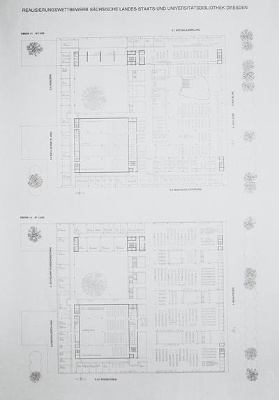 Dresden. Realisierungswettbewerb Neubau SLUB (04.1996), Teilnehmer Nr. 33. Blatt Grundrisse Ebenen +1 und +2; M 1 : 200