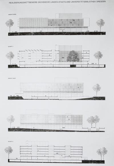Dresden. Realisierungswettbewerb Neubau SLUB (04.1996), Teilnehmer Nr. 33. Blatt Ansichten Nord, West und Ost sowie Schnitte 1 und 2
