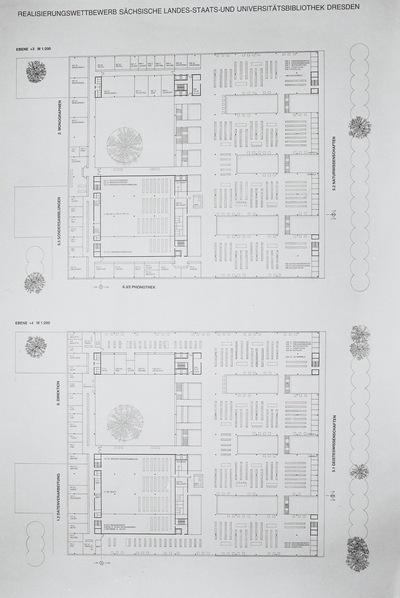 Dresden. Realisierungswettbewerb Neubau SLUB (04.1996), Teilnehmer Nr. 33. Blatt Grundrisse Ebenen +3 und +4; M 1 : 200