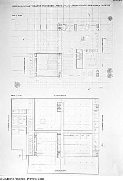 Dresden. Realisierungswettbewerb Neubau SLUB (04.1996), Teilnehmer Nr. 33. Blatt Grundrisse Ebenen 0 und -1; M 1 : 200