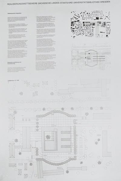 Dresden. Realisierungswettbewerb Neubau SLUB (04.1996), Teilnehmer Nr. 33. Blatt Standortbeschreibung und Lageplan; M 1 : 500