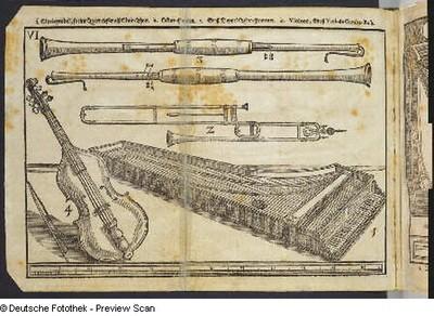 Theatrum Instrumentorum mit Instrumentendarstellung Cembalo, Posaune, Pommern und Viola da gamba. Tafel 6