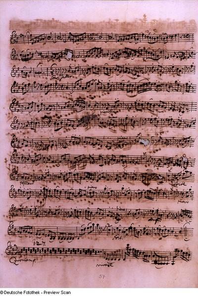 Stimmensatz: Qui tollis (T. 29-50.), Qui sedes (T. 1-86.), Cum Sancto Spiritu (T. 1-4), Violine I