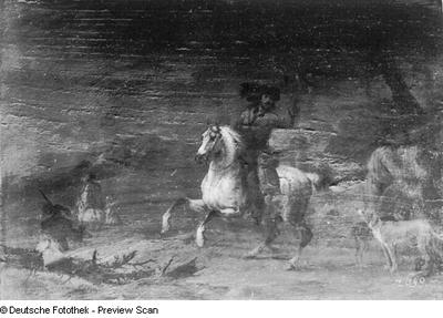 Ein Reiter auf weißem Pferde mit einem Jagdfalken