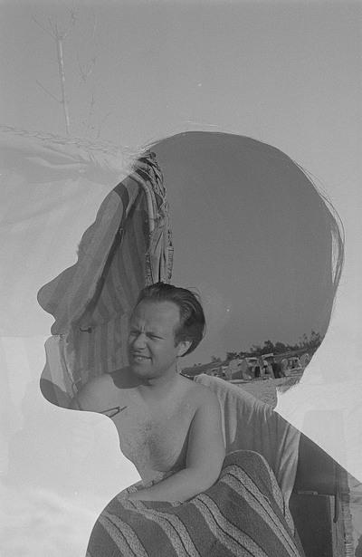 Doppelbelichtung Portrait Roger Rössings mit Silhouette