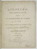Image from object titled Solfèges pour servir à l'étude dans le Conservatoire de musique par MM Agus, Catel, Cherubini, Gossec, Langlé, Le Sueur, Martini, Mehul et Rey. Seconde partie...