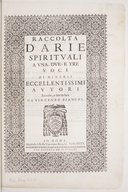Image from object titled Raccolta d'Arie spirituali a una due e tre voci di diversi eccellentissimi autori, raccolte e date in luce, da Vincenzo Bianchi