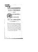 Image from object titled Les crimes des philantropes, dévoilés par les catholiques ([Reprod.]) / [signé : Denis]