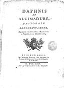 Image from object titled Daphnis et Alcimadure , pastorale languedocienne, représentée devant Leurs Majestés à Versailles le 12 décembre 1764