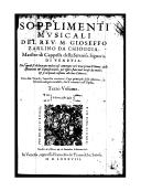 Image from object titled Sopplimenti musicali ([Reprod.]) / Del rev. M. Gioseffo Zarlino da Chioggia,...