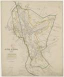 Octroi d'Epinal. 1 : 10 000 La ligne du périmètre de l'octroi est indiqué [sic] par un liseré vert. La ligne de l'agglomération est indiqué [sic] par un liseré jaune