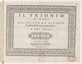 Image from object titled Il trionfo di Dori descritto da diversi et posti in musica, da altretanti autori. A sei voci