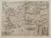 Il disegno d'geografia moderna della provincia di Natolia et Caramania, patria de gli Sigri. Turchi della casa ottomana, i confini suoi da Leuate il fiume Eufrates, da ponete il stretto di Costatinopoli, et quello di...