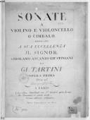 Image from object titled Sonate a violino e violoncello o cimbalo... opera prima..., gravé par Le Sr Hue