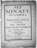 Image from object titled Sei Sonate da camera a violino solo col basso... opera VIa