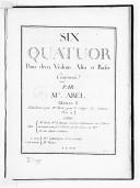 Image from object titled Six Quatuor pour deux violons, alto et basse. Composés par Mr Abel. Oeuvre 8