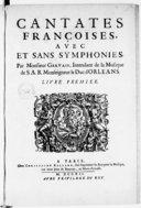 Image from object titled Cantates françoises avec et sans symphonies... Livre premier
