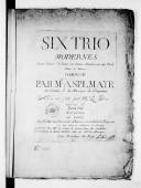 Image from object titled Six trios modernes pour deux violons ou deux pardesssus de viole avec la basse... Oeuvre Ier. Mis au jour par M. Le Duc.... Gravé par Ceron