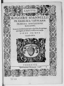 Image from object titled ROGGERII IOANNELLII // IN BASILICA VATICANA // PRINCIPIS APOSTOLORVM // Musicae praefecti. // Sacrarum modulationum quas vulgo Motecta appellant, // quae Quinis, et Octonis vocibus concinuntur. // LIBER PRIMVS // Secunda editio. // [Marque de Vicenzo] VENETIIS, // Apud Iacobum Vincentium. 1598. //