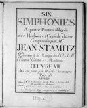 Image from object titled Six Simphonies a quatre parties obligées avec haubois et cors de chasse... Oeuvre VII, mis au jour par M. de La Chevardière