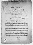 Image from object titled Menuet d'Exaudet arrangé pour la harpe ou pour le clavecin avec des variations et un accompagnement de violon.... Gravé par le sr Hue