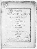 Image from object titled Trois grands duo a quatre mains pour le piano forte ou le clavecin... opera XII...
