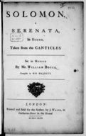 Image from object titled Solomon. A Serenata, in score, taken from the canticles...
