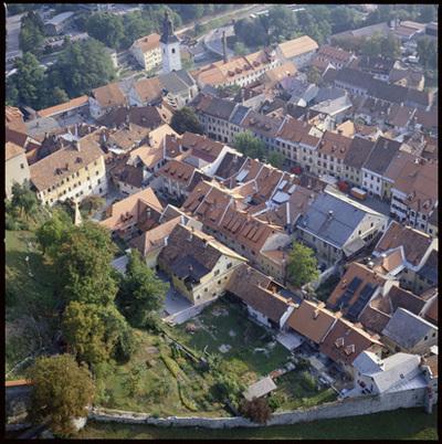 Image from object titled Škofja Loka - Mesto (pogled iz zraka), fotografija